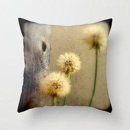 Tree Hugging Dandelions Throw Pillow