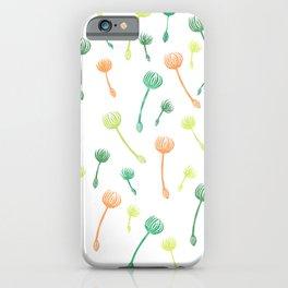 Dandelion in green & bronze (handcarved stamps) iPhone Case