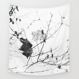 black and white leaf Wall Tapestry