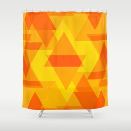Bright yellow and orange large triangles in the intersection and overlay. Shower Curtain