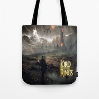 lord of the ring Tote Bags featuring Shadow of mordor/ Lord of the ring original by Alphonse Chèvre