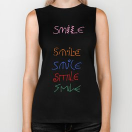 smile-smile,happy,fun,color,self esteem, good,positive,laugh,pleasure,joy Biker Tank