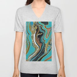 Marble Paint Texture in Gold Black and Teal Unisex V-Neck