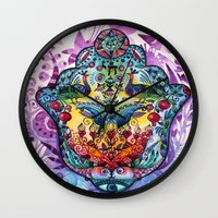 hamsa Wall Clocks featuring Hamsa by oxana zaika