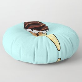 Chocolate ice cream in a waffle cone - blue background Floor Pillow