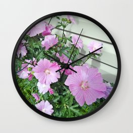 Pink Musk Mallow Bush in Bloom Wall Clock