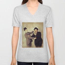 Laurel and Hardy, Hollywood Legends Unisex V-Neck