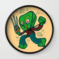 freddy krueger Wall Clocks featuring Gumby Krueger by Artistic Dyslexia