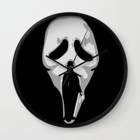 charlie chaplin Wall Clocks featuring silent scream - charlie chaplin by gazonula