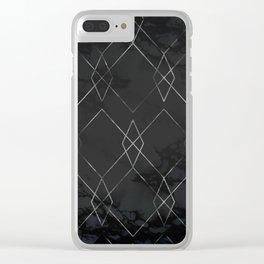 Silver Geometric Modern Pattern Trendy Black Marble III Clear iPhone Case