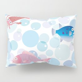 Snapper, Squid, Globefish and Bubble Pillow Sham