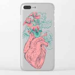 drawing Human heart with flowers Clear iPhone Case
