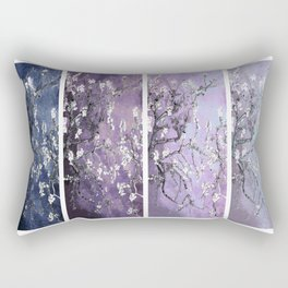 Vincent Van Gogh : Almond Blossoms Panel Art Dark Blue Purple Lavender Rectangular Pillow