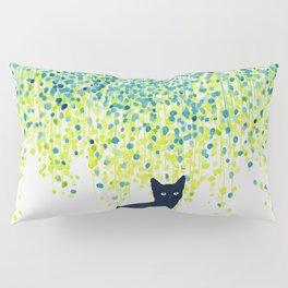 Cat in the garden under willow tree Pillow Sham