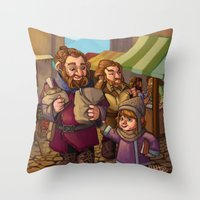nori Throw Pillows featuring Brothers Ri Market Day by Hattie Hedgehog