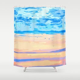 Sunset On The Shore #painting #nature Shower Curtain