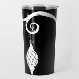 Burtonesque Branch with Ornament 3 / White on Black Travel Mug