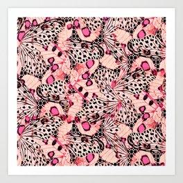 Pink Butterflies in the skies Art Print