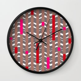 TRIBAL CHEVRON | mauve red Wall Clock