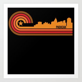 Retro Style Paducah Kentucky Skyline Art Print