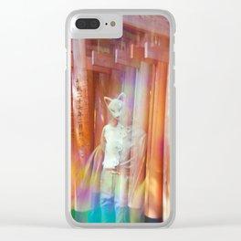 Kitsune Japanese double exposure at the Fushimi Inari Shrine Clear iPhone Case