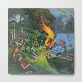 St. Hansbal Midsummer Eve Bonfire on Alpine Lake landscape painting by Nikolai Astrup Metal Print