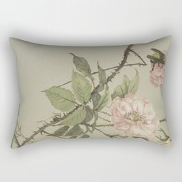 Vintage Flower and Bee Rectangular Pillow