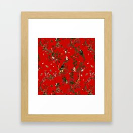 Monkey World Red Framed Art Print