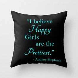 Happy Girls - Blue and Pink Throw Pillow