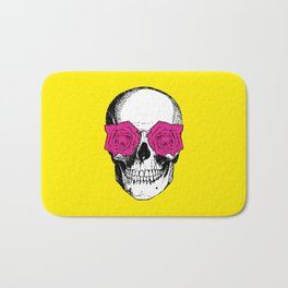 Skull and Roses | Yellow and Pink Bath Mat