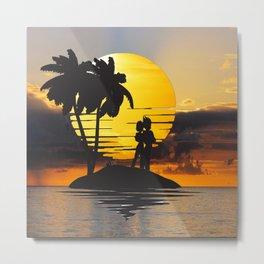 Romantic Vegeta Bulma in Sunset Metal Print