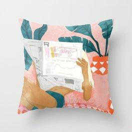 Morning News, Modern Bohemian Illustration, Woman Reading Newspaper, Banana Leaves, Tropical Throw Pillow