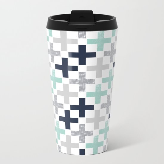 Swiss cross pattern minimal nursery basic grey and white camping cabin chalet decor Metal Travel Mug