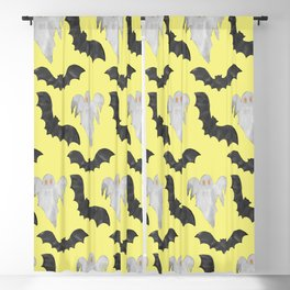 Scary Black White Yellow Halloween Bats Ghosts Pattern Blackout Curtain