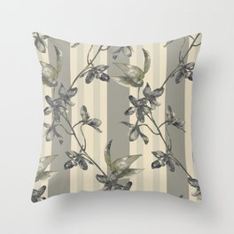 Flowers and Stripes One Throw Pillow