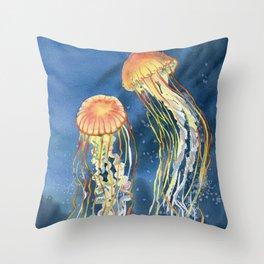 Dancing of Jellyfish Throw Pillow
