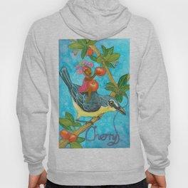 Fruits and Fantasy: Cherry/Yellow breast bird Hoody