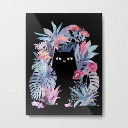 Popoki (Pastel Black Velvet) Metal Print