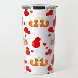 Cute lovely little foxes in love and bold red retro dots nursery pattern design. Hello November. Travel Mug