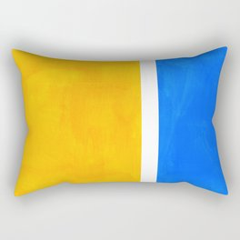 Primary Yellow Cerulean Blue Mid Century Modern Abstract Minimalist Rothko Color Field Squares Rectangular Pillow