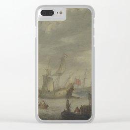 Abraham de Verwer - Armed Merchantmen off the Dutch Coast Preparing to Set Sail (early 17th C) Clear iPhone Case