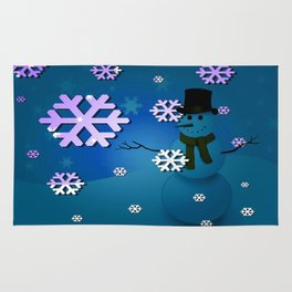 Snowman In A Snow Storm By Annie Zeno Rug