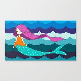 Mermaid in Blue Canvas Print