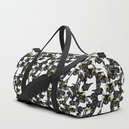 just penguins black white yellow Duffle Bag