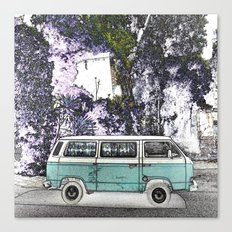 Vintage van. Green Canvas Print