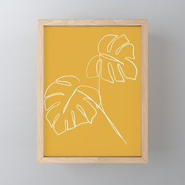 Monstera minimal - yellow Framed Mini Art Print