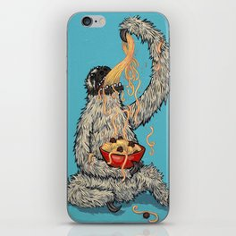 Three Toed Sloth Eating Spaghetti From a Bowl iPhone Skin