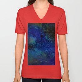 NASA Voyager silhouette nebulae star field poster Unisex V-Neck