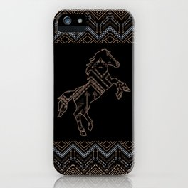 Ethnic pattern with a horse and american indian traditional ornament in brown and blue colors. iPhone Case