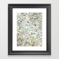 Pale Bright Mint and Sage Art Deco Marbling Framed Art Print